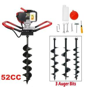 52cc Gas Powered Power Engine One Man Post Hole Digger 3x Auger Bit 3x Extension