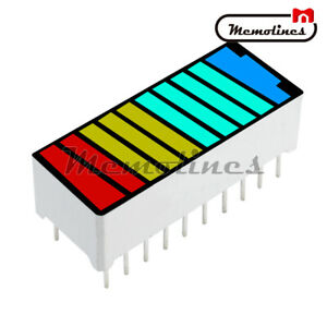 5pcs 4 Colour Color 10 segment Led Battery Bar Graph Light Display Indicator Dip