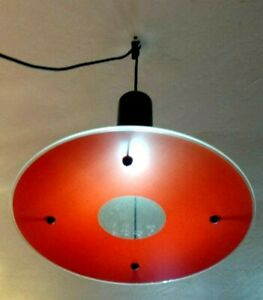 Red Hanging Circle Glass Mid Century Modern Ceiling Light Deco Pendant Fixture