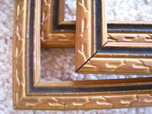 Vintage Set Of 3 Matching Wood Picture Frames No Glass 1 9x15 2 7x13 Gold Blk