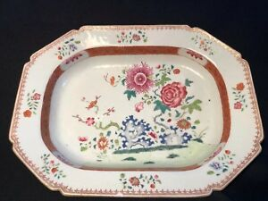 Large Antique 18 C Qianlong Chinese Export Famille Rose Platters 38 Cm 15
