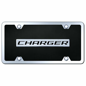License Plate Kit Chrome With Dodge Charger Name On Black Acrylic Licensed