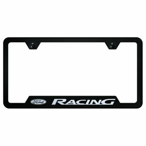 Cut Out License Plate Frame With Ford Racing On Black Officially Licensed