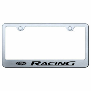 License Plate Frame With Ford Racing On Brushed Stainless Steel Licensed