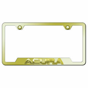 Cut out License Plate Frame Gold With Acura 3d On Gold officially Licensed