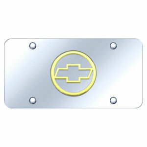 License Plate Gold With Chevrolet Chevy Plain Logo On Chrome Licensed