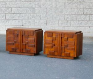 Mid Century Paul Evans Style Lane Mosaic Brutalist Night Stands End Tables
