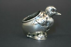 19thc Sterling Silver Edwardian Baby Chick Pin Cushion Unger Brothers Ruby Eyes