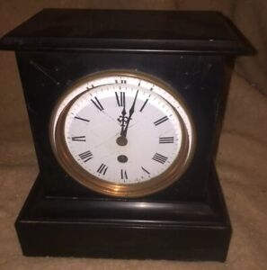 Small French Marble Slate Mantle Clock Complete With Key Working Order