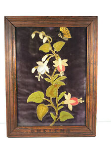C 1890 Antique Velvet Flowers Butterfly Embroidery In Wooden Frame