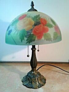 Antique Reverse Painted Shade Roses Arts Crafts Art Nuveau 18 Ornate Base