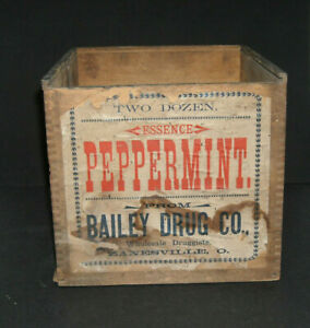 Bailey Drug Co Zanesville Ohio Early Wooden Advertising Box Paper Label Oh