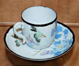 Antique Asian Japanese Demitasse Porcelain Cup Saucer Blue Flowers Birds Bird