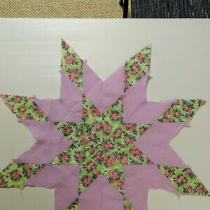 Reduced Antique Vintage Quilt Blocks Star Pattern Hand Pieced Great Cutter