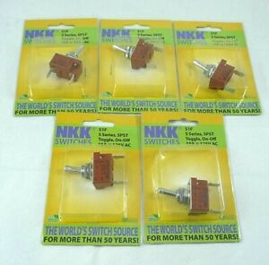 Lot Of 5 Nkk Switches S1f S Series Spst Toggle on off 15a 125v Ac