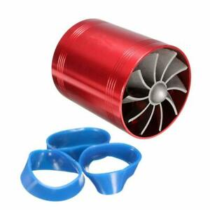 Aluminum Car Dual Turbo Air Intake Fan Supercharger Fuel Gas Saver Turbonator