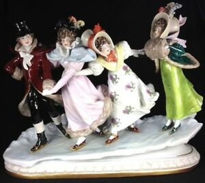 Rare Scheibe Alsbach Germany Large Porcelain Figurine Group Victorian Skaters