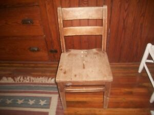 Vintage Antique Childs Chair Wooden H W Gunlocke Distressed Great Patina Chair