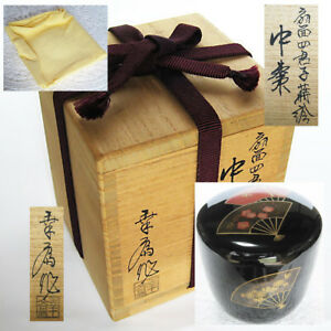 Japan Lacquerware Tea Caddy Shikunshi Foldingfan Makie Natsume Tea Ceremony Nt81