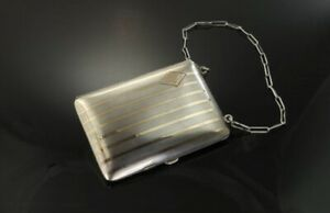 Vintage Sterling Silver And 14k Coin Purse With Pencil And Mirtor