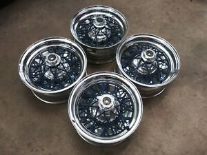 Vintage 14x6 Wire Wheels Rims Chevy Ford Oldschool Impala Van Baskets J15590