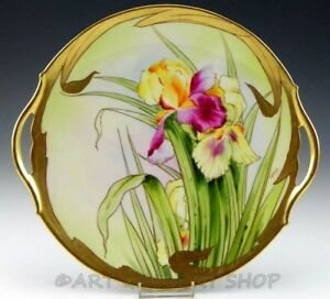 Antique T V Limoges Pickard 10 75 Iris Flowers Gold Plate Charger Artist Signed