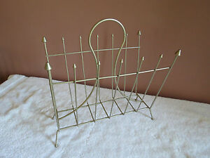 Vintage Wire Metal Magazine Rack Record Lp Towels Atomic Spire Spear 1950 S 60 S