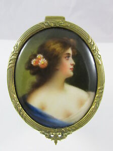 Old French Ormolu Bronze Box Hand Painted Porcelain Portrait Plaque Lady In Blue