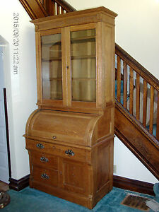 Cylinder Roll Secretary Desk Bookcase Top With Key Local Pickup Only