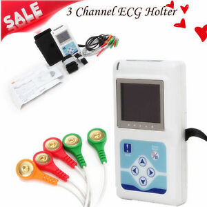 3 Channel 24h Ecg ekg Holter System Analyzer Recorder Monitor pc Software New
