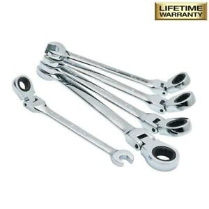 Husky Sae Flex Ratcheting Combination Hand Tool Wrench Polished Chrome Set 5 Pie