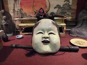 Noh Mask Wood Large Sculpture Sea Freight Small Crack Check Out The Video