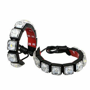 2x Drl Daytime Running Light Lamp For Universal Car Flexible 10 Led Fog Daylight