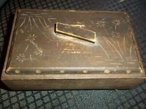 Small Rustic Primitive Wood Box Lid Carved Flowers