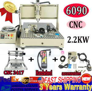 Usb Cnc6090 Router Engraver Milling 2 2kw Water cooled Vfd 2417 Mini handwheel