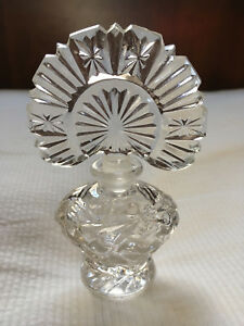 Vintage Antique Perfume Bottle Irice Clear Pressed Glass Collectible