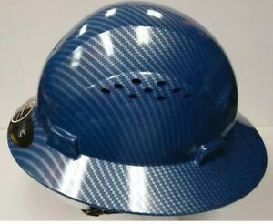 Hdpe hydro dipped blue full brim hard hat with fas trac suspension Hdpe hydro