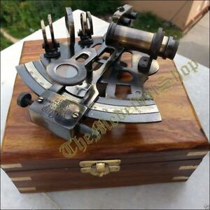 Nautical Marine Sextant Wooden Box Brass Maritime German Astrolabe Collectible