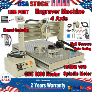 Usb 1 5kw 4 Axis Cnc 6090 Router Engraver Machine Mill Wood Carving Cutter Rc
