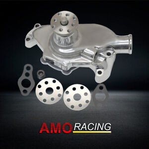 Polished Aluminum Short Style Water Pump High Volume Fits Sbc Chevy 283 327 350
