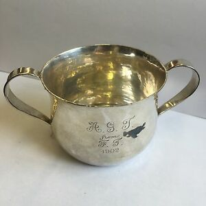 Antique Solid Silver Twin Handled Loving Cup Retailed Asprey Hammered 7cm 1901