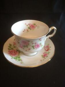 Vintage 1974 Avon Fine Bone China Teacup And Saucer Pink Roses