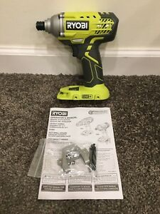 Ryobi P235 1 4 Inch One 18 Volt Lithium Ion Impact Driver With Hook And 2 Bits