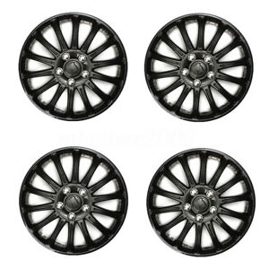 4pcs Set 14 Inch Hub Caps Universal Black Auto Car Rim Wheel Tire Trims