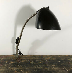 1960 S Industrial Czechoslovakian Machinists Gooseneck Lamp With Bakelite Shade