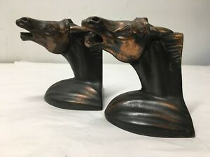 Pair Of Art Deco Frankart Metal Horse Bookends