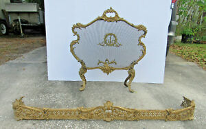 Antique Baroque Rococo Victorian Fireplace Screen With Surround Ornate