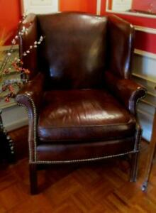 Chippendale Studded Leather Wingback Chair By Beekman Place For Bloomingdale S