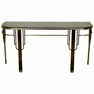 Art Deco Style Brushed Steel Rococo Console Table Smoked Glass Hollywood Regency