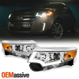 Halogen Upgrade Fit 2011 2014 Ford Edge Led Drl Chrome Projector Headlights